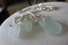 aqua sea glass matching jewelry set, small aqua blue sea glass jewelry, SeaglassWithATwist by SeaglassWithATwist on Etsy