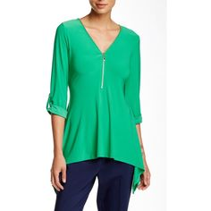 Chaus Zip Front Sharkbite Blouse ($25) ❤ liked on Polyvore featuring tops, blouses, green, plunging v neck top, zip front top, plunge top, chaus blouses and v-neck jersey