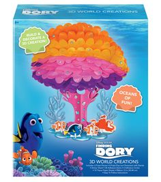 Build and decorate a 3D creation with this Finding Dory set. Includes: 6 Foam Pieces, 4 Foam Pop-out Characters with Stands, Sticker Sheet, 38 Adhesive Gems, 4 Adhesive Circles, 10 Tissue Paper Sheets