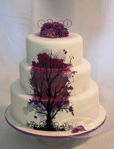 black white and purple wedding cake.  love that tree design