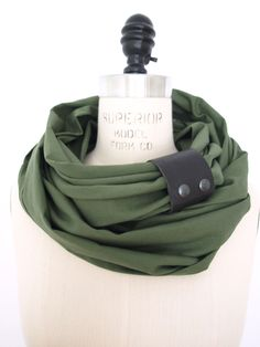 Chunky olive Green linen circular infinity scarf. $40.00, via Etsy.