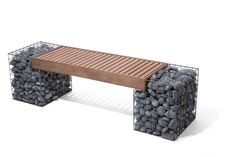 The intent with the Gabion Bench is to use the sculptural quality and interesting organic texture of the form to create a new functional design. Pool Furniture, Modern Outdoor Furniture, Living Furniture, Gabion Cages, Gabion Retaining Wall, Mexican Beach Pebbles, Ipe Wood, Classic Garden, Home Room Design