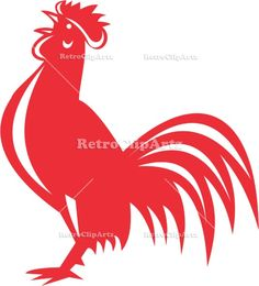 Chicken Rooster Crowing Retro Vector Stock Illustration.  Illustration of a chicken rooster crowing viewed from the side set on isolated white background done in retro style. #illustration  #ChickenRooster