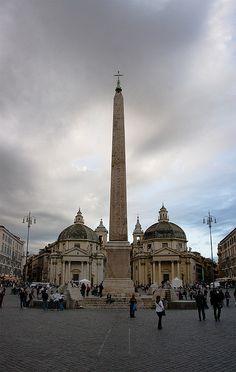 Egyptian Obelisk at Piazza del Popolo, Rome Italy