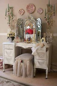 Tri Fold Venetian Glass Vanity Mirror Tabletop or Wall Tri Fold Ladies Vanity