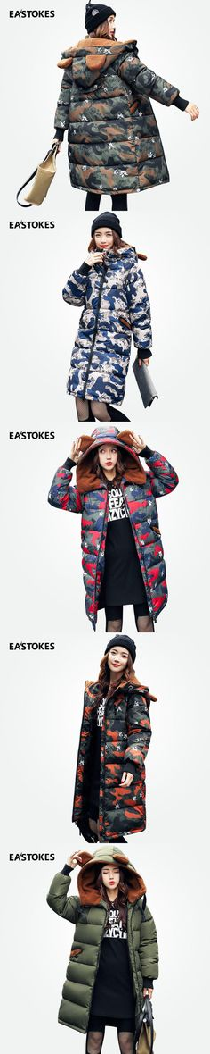 Women Winter Thick Coats Long Style Camouflage Lady Hooded Jackets With Flocking Hoody Female Parkas Winter Outerwear 6 Colors
