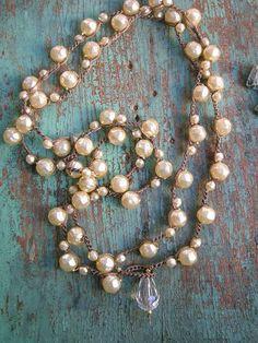Pearl crochet wrap necklace Gigi layering strand by 3DivasStudio