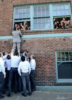 Well, live out the balcony scene anyway. This photo is the perfect way to show off the entire bridal party. Also, there are sure to be a few laughs as the groomsmen try lifting up the groom. Wedding Photos, Wedding Party