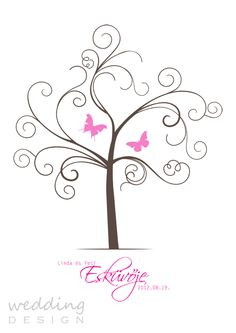 Wedding guest book - Wedding tree - Ujjlenyomatos emlék plakát Graphic/Grafika: Wedding Design