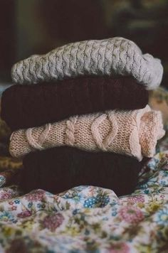 Cozy stack of knits.