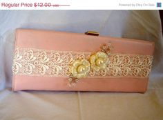 Pink Vintage Clutch, Upcycled Embellished, Lace Vtg Earrings, Hollywood Glam,