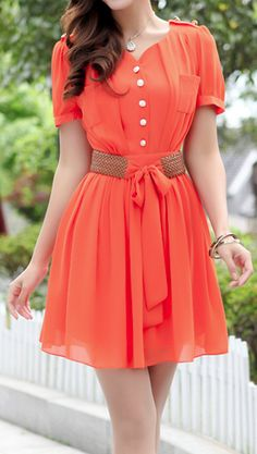 Coral belted dress...cute!