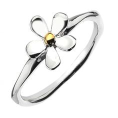 Sterling Silver jewellery, Simple Sterling Silver And Gold Daisy Ring