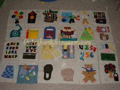 Button flowers, traffic light, and road, closet with clothes for doll, shapes, phone, pencil and paper and mail box, Noah's ark, tent, picnic basket, alphabet match, oven and cupcakes, number match, weave the tower, fish, tie shoe, baseball mitt, tie bow, pick apples