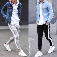 Casual Fall Outfits, Trendy Outfits, Men Casual, Fashion Outfits, Hypebeast Outfit, Classy Suits, Designer Suits For Men, Men With Street Style, Denim Jacket Men