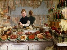Edouard-Jean Dambourgez:A Pork Butcher's Shop - Google Search