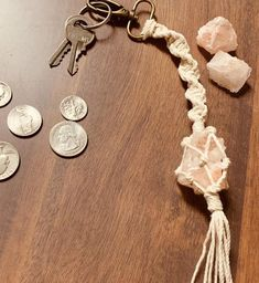 Pink Himalayan salt charm keychain, Purse charm, car accessories – My CMS Macrame Art, Macrame Projects, Macrame Jewelry, Crystal Jewelry, Boho Jewelry, Crystal Keychain, Mandala Jewelry, Himalayan Pink Salt, Diy Crystals