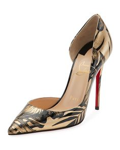 Christian Louboutin OFF!>> Iriza Palm-Print Red Sole Pumps Black/Gold by Christian Louboutin Gold Evening Shoes, Evening Sandals, Chic Chic, Stilettos, Cute Shoes, Me Too Shoes, Louboutin Shoes, Shoes Heels, Patent Shoes