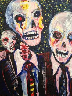 """Well Dressed Zombies  , acrylic on canvas11""""x14""""  by jack larson #PopArt"""