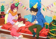 Christmas is coming. Matsuoka siblings and Sousuke. Really cute ~.~
