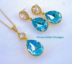 Tiffany Blue Jewelry Set GOLD Teal Wedding CZ by InStyleBoutique