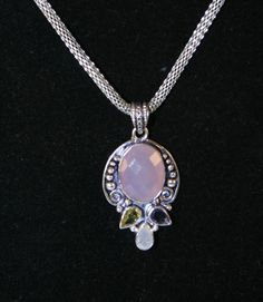 Rose Quartz Pendant Necklace.  Offered by DandHspecialties