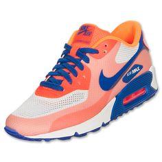 Women's Nike Air Max 90 Hyperfuse Premium Running Shoes| FinishLine.com | Sail/Hyper Blue/Bright Citrus