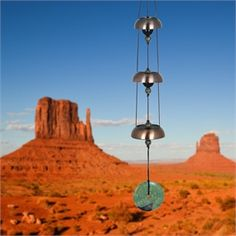 Inspired by ancient Chinese bells, a trio of bells offers a restful tone. This chime has: 3 Copper-plated steel bells Nylon cording Dimensions: 24 long Temple Bells, Remembrance Gifts, Turquoise Accents, Wind Spinners, Sympathy Gifts, Buddhist Temple, Antique Copper, Woodstock, Wind Chimes