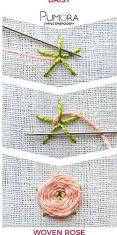 Wonderful Ribbon Embroidery Flowers by Hand Ideas. Enchanting Ribbon Embroidery Flowers by Hand Ideas. Simple Embroidery, Learn Embroidery, Silk Ribbon Embroidery, Crewel Embroidery, Cross Stitch Embroidery, Embroidery Ideas, Embroidery Thread, Beginner Embroidery, Machine Embroidery