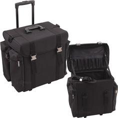 70417c41cf35 Hair Stylist Case Trolley Travel Storage Organizer Professional Black Soft  Sided
