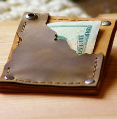 Idaho Leather Wallet Leather Wallet Mens Boho by simpleflychic
