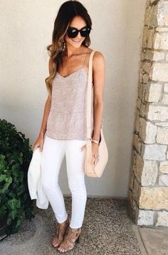 White jeans, flowy top, nude heeled sandals