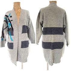 Vintage 80s Cardigan Sweater Size Small Long Wool Preppy Stripe Retro Funky Hip #ReneeTenerforJeannePierre #Cardigan