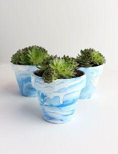 DIY: Marbled Terra Cotta Pots