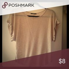 Tan Tee with Gunmetal Studs on the Sleeves Gently used. Rayon & Polyester. Size small Papaya Tops Tees - Short Sleeve