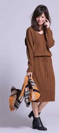 片畦Vネックニットワンピース   couture-line   9999165113503   ナノ・ユニバース直営通販サイト