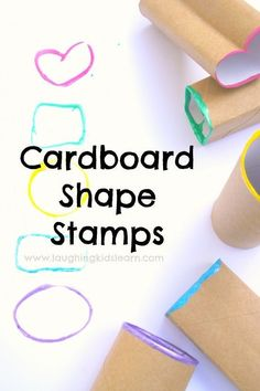 simple painting activity for kids using cardboard toilet rolls. Make stamps that will teach children about basic shapes and colours.