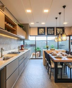 Tropical Kitchen, Kitchen Layout Plans, Estilo Tropical, Decoration Bedroom, Condo Living, Cuisines Design, Kitchen Flooring, Interiores Design, Home Design