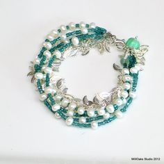 White Pearl Bracelet with Teal Glass and Silver Leaves, Multi Strand Pearl and Vintage Beaded Bracelet, WillOaks Studio Original