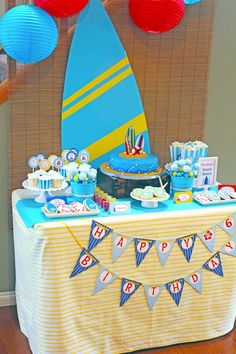Surf themed birthday party via Kara's Party Ideas KarasPartyIdeas.com #surf #themed #birthday #party #ideas #cake #supplies #ideas