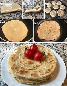 How To Make Unleavened Katmer (Practical And Tasty) Recipe In Frying Pan? illustrations of the recipe in the book and pictures of the experimenters here. Author: Münevver & # s cuisine Ramadan Desserts, Turkish Recipes, Ethnic Recipes, Bread Recipes, Cooking Recipes, Crepes, Food And Drink, Yummy Food, Breakfast