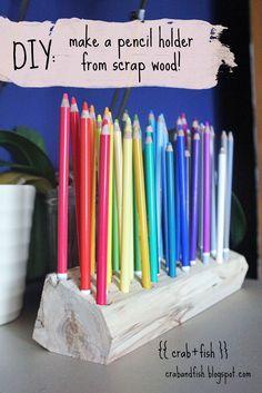 DIY: pencil holder from scrap wood