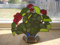 Stained Glass Geranium Fan Lamp / Night Light / by AcadianGlassArt