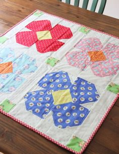 Free Floret Table Topper Pattern and First Blush Fabric Hop