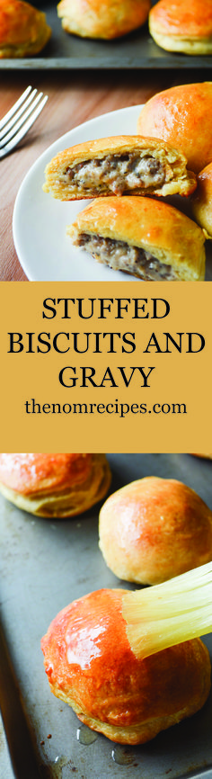 Stuffed Biscuits and Gravy in a honey butter is fun spin on a Midwest breakfast classic. Honey butter glazed biscuits stuffed with spicy sausage gravy. Sausage Bread, Sausage Gravy, Sausage Recipes, Biscuit N Gravy Recipe, Biscuits And Gravy, Sweets Recipes, Brunch Recipes, Cooking Recipes, Desserts