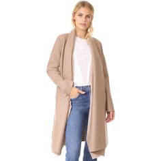Harris Wharf London Long Blanket Coat (772 AUD) ❤ liked on Polyvore featuring outerwear, coats, camel, over coat, camel coat, pink coat, long length coats and long camel coat