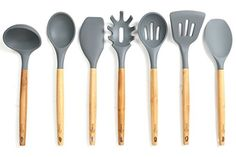 Buy Lively Home Goods Premium Silicone Kitchen Cooking Utensils Set with Natural Bamboo Handles - Cooking Tool and Kitchen Gadget Set for Nonstick Cookware - Grey, Lively Home Goods, Blackridge Holdings LLC, Silicone Kitchen Utensils, Cooking Utensils Set, Kitchen Utensil Set, Cooking Tools, Kitchen Dining, Kitchen Decor, Kitchen Gadgets, Cool Kitchens, Biodegradable Products