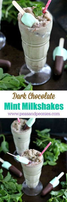 Delicious and refreshing Dark Chocolate Mint Milkshakes made with almond milk, fresh mint and topped with ice cream bars. #prepforsummer #ad @weightwatchers