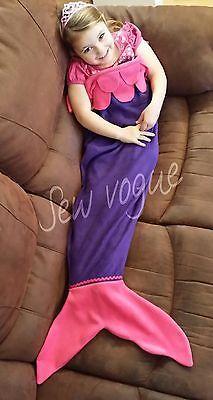 Mermaid Tail Soft Fleece snuggle-in Blanket / Sleeping Bag UK made. Personalised
