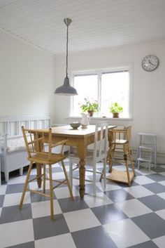 love the gray and white checkered tiles for an interim (or maybe permanent?) kitchen floor